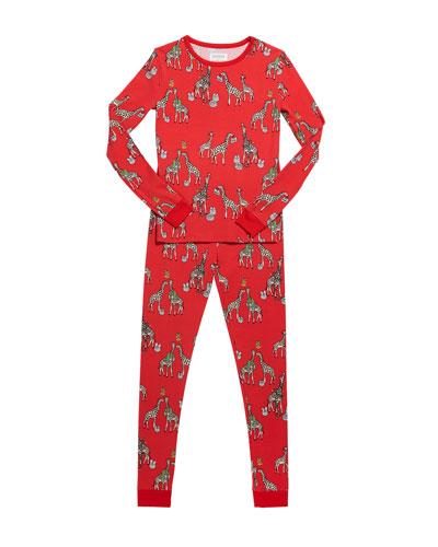 Girl's Holiday Giraffe-Print Pajama Set  Size 2-8