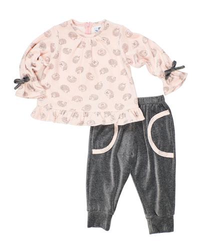 Girl's Velour Hedgehog-Print Top w/ Matching Jogger Pants  Size 2-6X