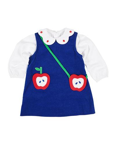 Girl's Corduroy Dress w/ Long-Sleeve Blouse & Apple Crossbody Bag  Size 2-6