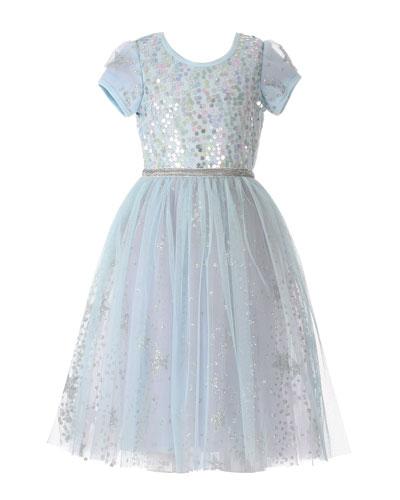 Girl's Ice Princess Sequin Glitter Dress  Size 7-10