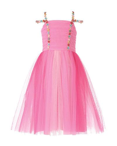 Girl's Pink Princess Tulle Dress  Size 7-10