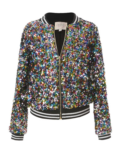 Girl's Multicolored Sequin Bomber Jacket  Size 7-14