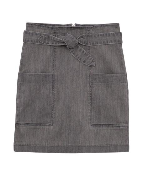 Girls' High-Waist Paperbag Skirt, Size 7-16