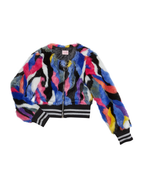 Girl's Colorful Funky Fun Faux Fur Bomber Jacket, Size 7-16