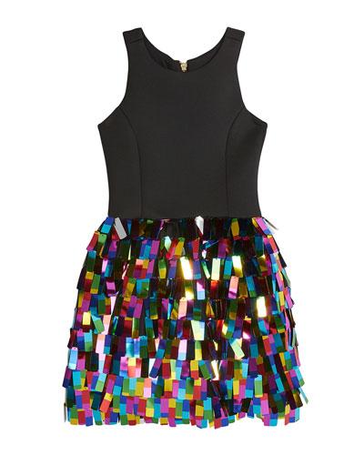 Girl's Halter Dress w/ Multicolor Rectangular Paillettes Skirt  Size 7-16