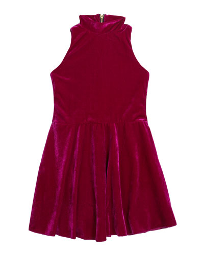 Girl's Nicole Velvet Halter-Neck Swing Dress  Size 7-16