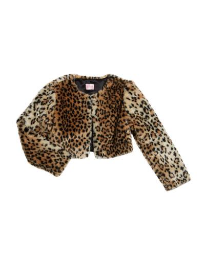 Girl's Leopard Faux Fur Bolero Jacket  Size 4-6