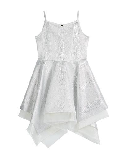 Girl's Snow Queen Textured Jacquard Handkerchief Party Dress  Size 7-16