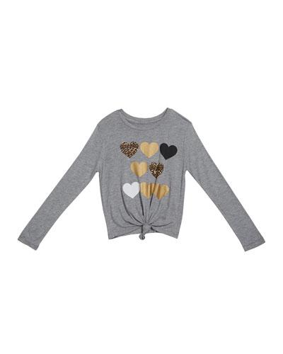Girl's Leopard & Metallic Heart Print Top  Size S-XL