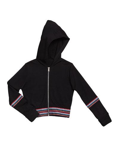 Girl's Metallic Taping Hooded Jacket  Size S-XL