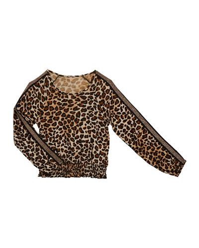 Girl's Leopard Print Smocked Hem Top  Size S-XL