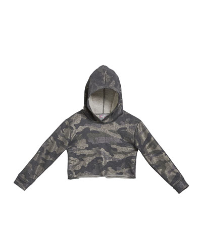 Girl's Metallic Camo Crop Hoodie  Size S-XL