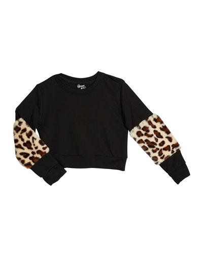 Girl's Leopard Faux Fur Trim Sweatshirt  Size S-XL