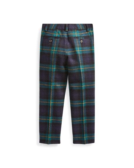 Boy's Slim Fit Twill Wool Plaid Pants, Size 2-4