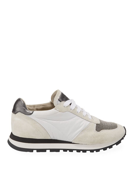 Girl's Suede and Leather Runner Sneakers, Toddler/Kids