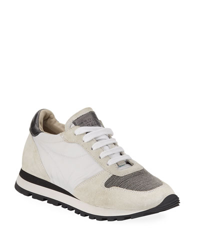 Girl's Suede and Leather Runner Sneakers  Toddler/Kids