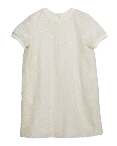 Girl's Paillette Chevron Short-Sleeve Tulle Dress  Size 4-6