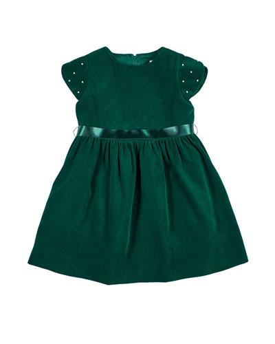 Girl's Twill Velvet Short-Sleeve Dress w/ Pearly Beaded Sleeves  Size 2-6X
