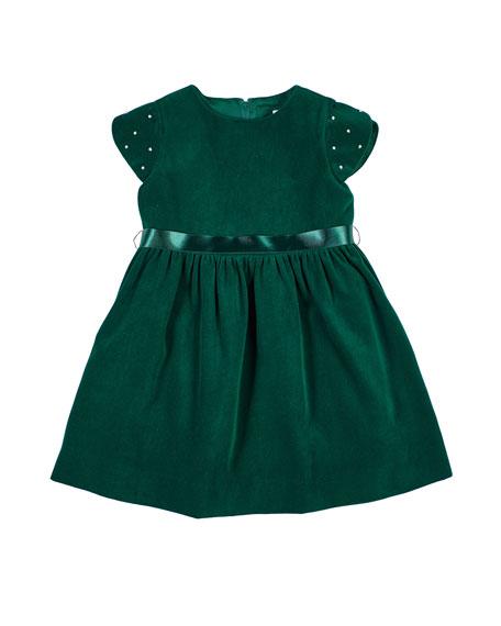 Girl's Twill Velvet Short-Sleeve Dress w/ Pearly Beaded Sleeves, Size 2-6X