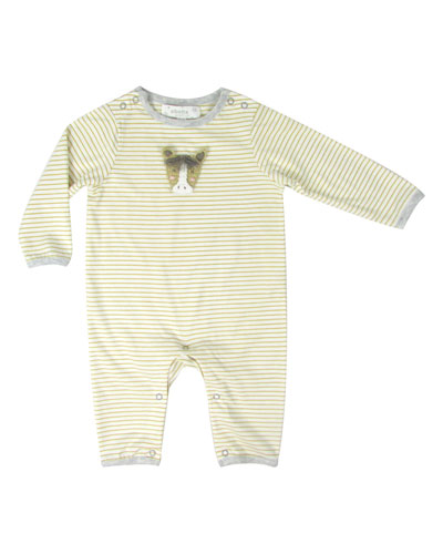 Striped Coverall w/ Crochet Horse  Size 0-12 Months