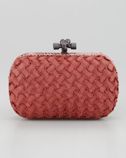 Bottega Veneta Woven Leather Knot Minaudiere Clutch, Rose
