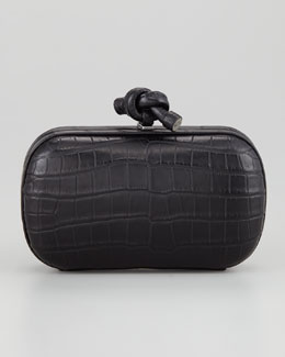 Bottega Veneta Crocodile Knot Minaudiere Clutch, Black