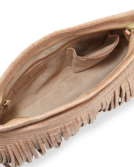 Crocodile Fringe Crossbody Clutch Bag, Neutral