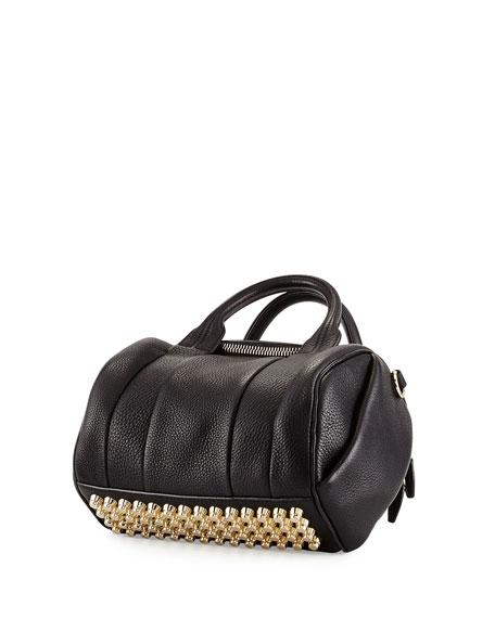Rockie Dumbo Slick Satchel Bag w/Pale-Golden Hardware, Black