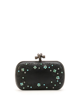 Beaded Flower-Etched Leather Frame Clutch, Black