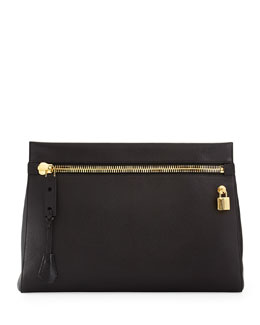 Alix Large Zip & Padlock Clutch Bag, Black