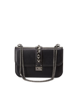 Medium Lock Shoulder Bag, Black