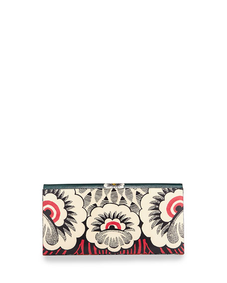 Floral-Print Covered Clutch Bag
