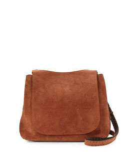 Sideby Suede Satchel Bag, Brown