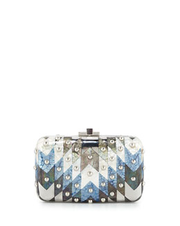 Metallic Chevron Dome-Studded Clutch Bag