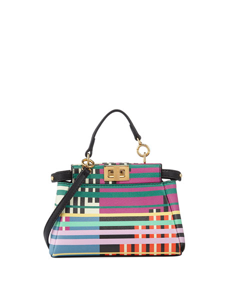 Fendi Peekaboo Micro Mixed-Stripe Satchel Bag