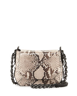 Bradbury Mini Flap Chain Hobo Bag, Brown
