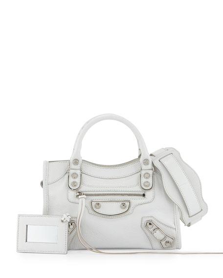 Balenciaga Metallic Mini City Leather Bag, White
