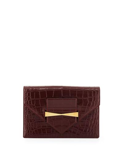 Large Croc-Embossed Envelope Clutch Bag