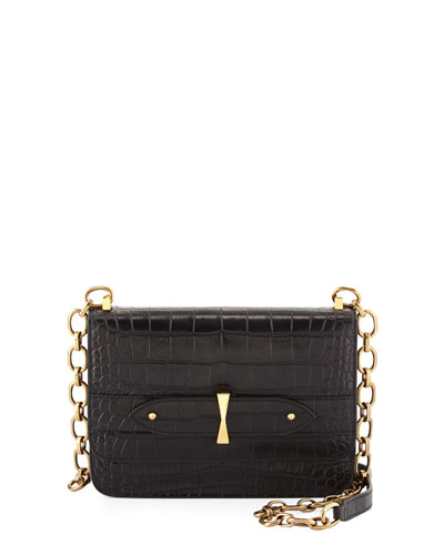Legend Croc-Embossed Chain Satchel Bag