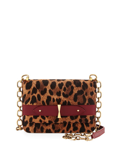 Legend Leopard-Print Calf Hair Chain Satchel Bag
