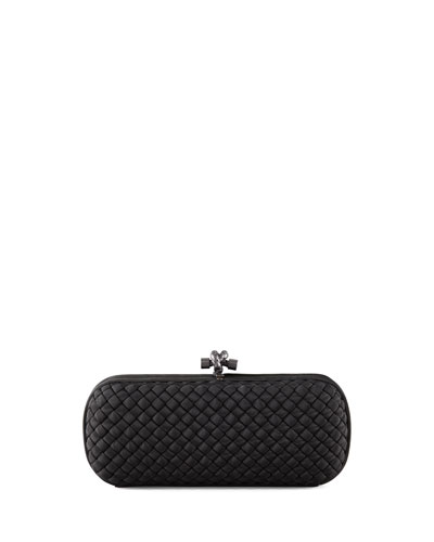Woven Faille Large Knot Clutch Bag, Black