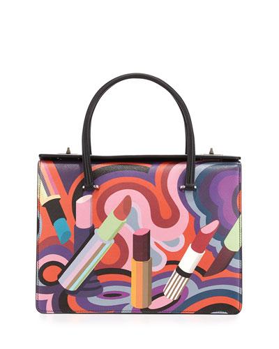 Lipstick-Print Saffiano Tote Bag