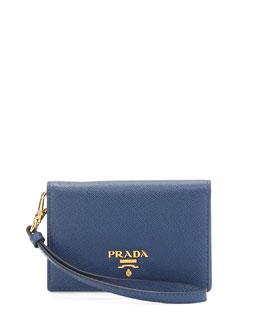 Saffiano Flap-Top Card Case