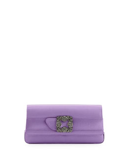 Gothisi Crystal-Buckle Satin Clutch Bag, Lavender