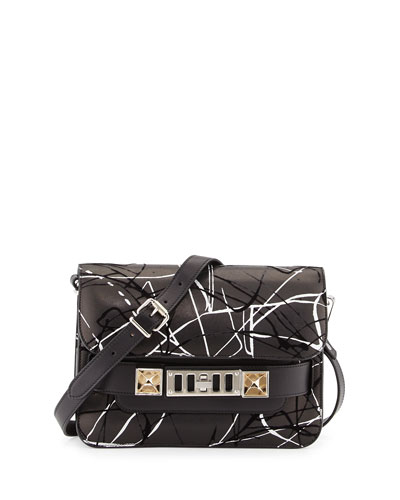 PS11 Splatter-Print Felted Leather Satchel Bag