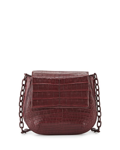 Crocodile Crossbody Saddle Bag