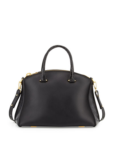 Vitello Leather & Crocodile Satchel Bag, Black