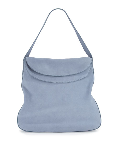 Suede Doubled Flap-Top Medium Hobo Bag