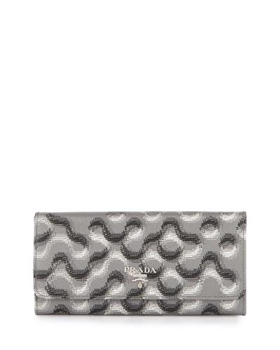 Saffiano Molecule-Print Continental Flap Wallet
