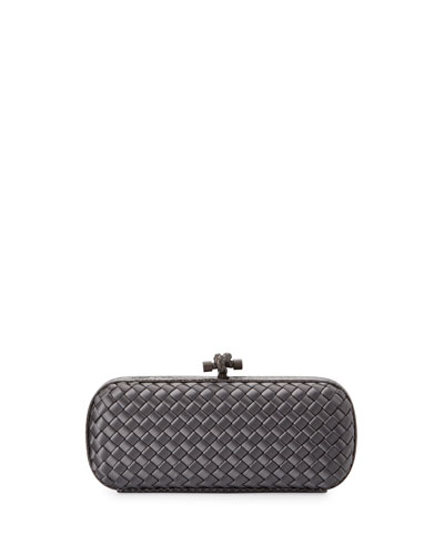 Satin Elongated Knot Clutch Bag, Bluette